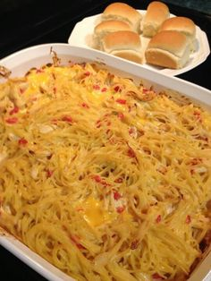 Chicken Rotel Spaghetti 4 boneless, skinless chicken breasts 1 pound thin spaghetti 1 can Rotel (original) 1 pound Velveeta cheese (original) 1 can cream of chicken 1 can cream of mushroom 1 stick of butter Salt and pepper to taste Boil chicken thoroughly and tear into small pieces. Cook spaghetti as directed. Drain water from spaghetti and add all ingredients. Mix well. Bake in casserole dish on 400 degrees uncovered for 20 minutes.