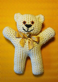 Easy-peasy teddy-bear — crocheted in one piece pattern - could include with Project Linus blankets