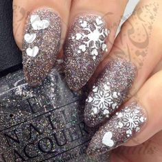 Christmas Nail Art Glittery White Snowflakes Stickers