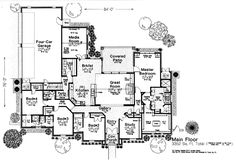 Country European House Plan 97845 Level One 3352 sqft, love master wing and closeness to berms. Need diff kitchen and powder bath