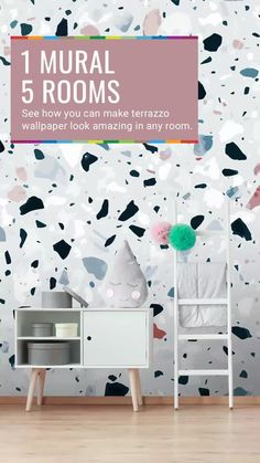 With gorgeous subtle browns, blues and black speckles of marble, this fabulous Brown and Blue Terrazzo wall mural will give any home Instagram appeal. Perfect for a cute gender neutral kids room, your own rustic bedroom or a unique living room, this terrazzo wallpaper is so versatile! Get the look at Wallsauce.com!