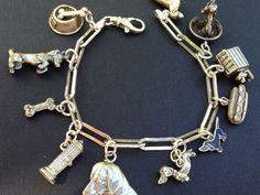 Vintage Charm Bracelet Collection - Dachshund Dog Silver & Enamel Charm Bracelet