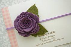 Felt Flower Headband  Purple Felt Flower by MyMondaysChild on Etsy, $6.95