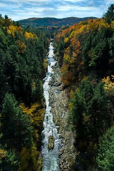 Quechee Gorge, on the Ottaquechee River, Hartford, VT is 1 mile long and 165 feet deep.