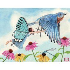 Flying Through the Garden 8X10 print by SueShanahanStudio on Etsy, $22.00