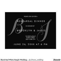 Black And White Simple Wedding Rehearsal Invites
