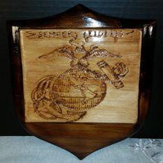 Marine Semper Fi USMC Wood Carving Wood by ShellysSelectSalvage