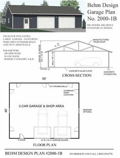 Extra Large 2 Car Garage Plan With Shop - 2000-1B by Behm Design