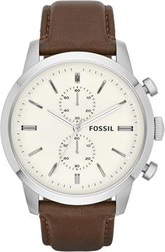 For Him: Classy and elegant. Fossil Watch, Men's Chronograph Townsman Brown Leather Strap - click now to see some magical apparel Diesel Watches For Men, Fossil Watches For Men, Cool Watches, Men's Watches, Jewelry Watches, Dress Watches, Daniel Wellington, Herren Chronograph, Mens Designer Watches