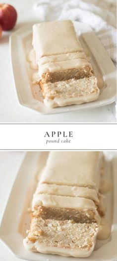 simple Apple Pound Cake is dense, full of that buttery flavor synonymous with pound cakes, loaded with fresh apples that keep it moist and covered in an incredible glaze that slices perfect, every time. Apple Desserts, Köstliche Desserts, Delicious Desserts, Dessert Recipes, Yummy Food, Desserts With Apples, Apple Cakes, Plated Desserts, Cupcakes