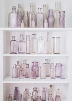 TEXTURE / COLOR: clear glass (These are old bottles that turn purple from the sun. They have to be at least 50 yrs. Vintage Bottles, Bottles And Jars, Antique Bottles, Paint Bottles, Glass Jars, Best Hacks, Shabby Chic, Sweet Home, Pastel Decor