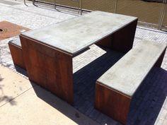 Corten Steel public table and seats