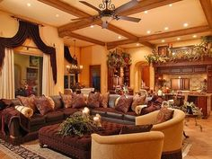 Old World Tuscan Living Room Interior Design For The