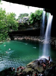 Hamilton Pool in Austin. It's a beautiful natural swimming hole that you have to hike to!! So much fun!