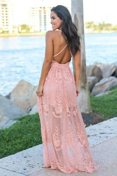 Blush Embroidered Maxi Dress with Criss Cross Back