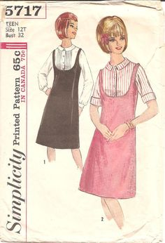 1960s Teen Jumper Blouse  Simplicity 5717 Vintage by ErikawithaK