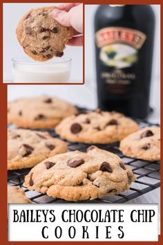Baileys Chocolate Chip Cookies recipe from RecipeGirl.com #baileys #chocolate #chip #chocolatechip #cookie #cookies #recipe #RecipeGirl Desserts With Chocolate Chips, Make Chocolate Chip Cookies, Chocolate Chip Recipes, Cookie Desserts, Cookie Recipes, Dessert Recipes, Cookie Ideas, Fun Baking Recipes, Sweet Recipes