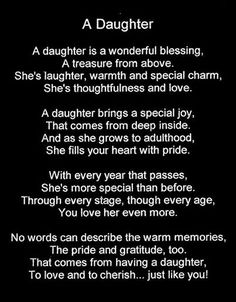 A Daughter is a wonderful blessing...