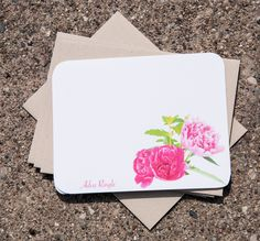 Peony Stationary. Personalized Stationary Cards (12). Pink Peonies Gift for Her (15.50 USD) by MyPaperKittens