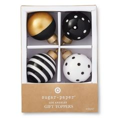 Sugar Paper Black, Gold, and White Patterned Ornament Gift Topper Set