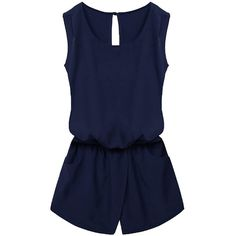 Womens Stylish Sleeveless Elastic Waist Pockets Romper Navy Blue (€16) ❤ liked on Polyvore featuring jumpsuits, rompers, sexy romper, sexy jumpsuits, jump suit, blue jumpsuit and navy jumpsuit