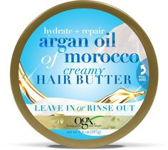 OGX Hydrate + Repair Argan Oil Of Morocco Creamy Hair Butter Leave-In Or Rinse Out 6.6 Ounce