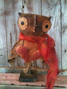 Primitive Valentine owl make do makedo with Heart scarf grungy grubby doll #NaivePrimitive