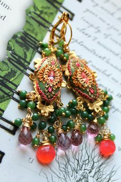 Neon Grapefruit Chalcedony,shades of olive Jade and Pink Mystic Quartz clay floral earrings with brass filigree - Reflections On Spring via Etsy