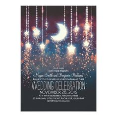 (Moon Stars & String Lights Wedding Invitations) #Blue #Blush #Coral…