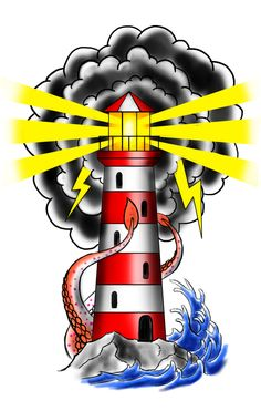 Traditional Old school Lighthouse - Traditional Tattoo Sketches, Traditional Tattoo Old School, Traditional Ink, Lighthouse Tattoo Meaning, Traditional Lighthouse Tattoo, Desenhos Old School, Light Tattoo, Sailor Jerry, Tattoo Stencils