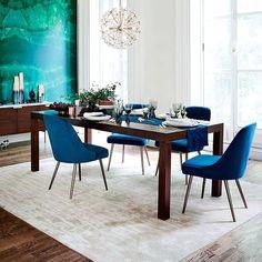 Mid-Century Upholstered Dining Chair - Velvet | west elm