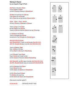 Stairway to heaven Guitar Chords And Lyrics, Easy Guitar Songs, Guitar Chords For Songs, Uke Songs, Guitar Chord Chart, Ukulele Tabs, Stairway To Heaven Guitar, Led Zeppelin, Ukulele Songs Beginner
