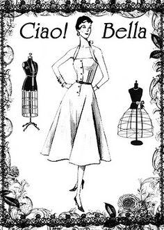 7cfeb8833e9d   FREE ViNTaGE DiGiTaL STaMPS    FREE Vintage Digital Stamp - Ciao Bella