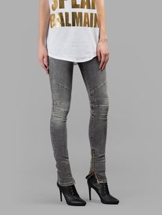 Love this by BALMAIN Balmain Women'S Grey Biker Jeans - $796 (60%Off) Skinny Fit, Skinny Jeans, Zip, Grey, Fitness, Cotton, Pants, Shopping