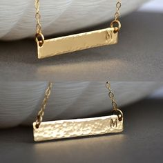Gold Bar Necklace, Personalized Gold Bar Necklace, Hammered Bar Necklace, Gold, Rose Gold, Sterling Silver Initial Bar Necklace