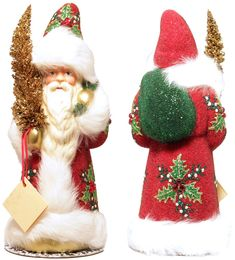 ino schaller santas germany | Ino Schaller Red Beaded Holly Leaf Santa Christmas Paper Mache Candy ...