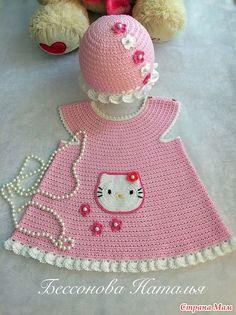 Доброго времени суток всем заглянувшим!  Связала для совсем еще маленькой девочки туничку с любимой, всеми малышами, Китти. Подрастет годиков до трех, будет носить, а пока ей четыре месяца.