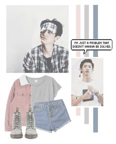 """""""Park Chanyeol"""" by lazy-alien ❤ liked on Polyvore featuring Monki, Dr. Martens, EXO, exok and parkchanyeol"""