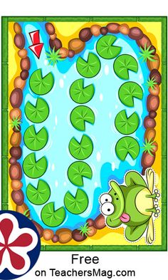 This printable frog board game template can be used to play a variety of games with all the items provided (the printable board game along with chips and enlarged versions of the chips) or other materials can be added as well such as using dice. Free Board Games, Printable Board Games, Board Games For Kids, Free Printable Worksheets, Printables, Frog Games, Board Game Template, Tangram Puzzles, Singing Time