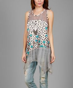 Look what I found on #zulily! White & Turquoise Mesh-Accent Sleeveless Tunic - Plus #zulilyfinds