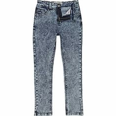 Boys blue acid wash skinny jeans #riverisland #rikidswear