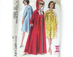 1960s Vintage ROBE and Nightgown Sewing Pattern Bed Jacket
