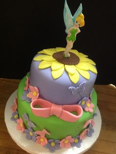 just a flower/garden cake with tink on top Tinkerbell Birthday Cakes, Fairy Birthday Cake, 4th Birthday Cakes, Birthday Party Snacks, Tinkerbell Party, Birthday Ideas, Fancy Cakes, Cute Cakes, Fairy Tea Parties