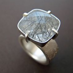 Rutilated tourmaline etched silver ring