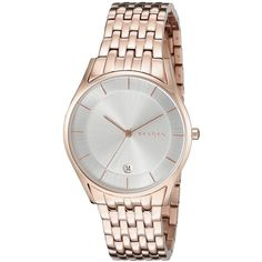 Skagen HOLST Analog Display Analog Quartz Rose Gold Watch ($151) ❤ liked on Polyvore featuring jewelry, watches, rose gold jewelry, water resistant watches, quartz wrist watch, pink gold watches and skagen jewelry
