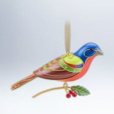HALLMARK THE BEAUTY OF BIRDS PAINTED BUNTING ORNAMENT 2012 SERIES # 8 NEW