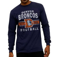 NFL Denver Broncos Team Arch Long Sleeve T-Shirt - Navy Blue by NFL. $22.95. Wrap yourself in some cozy team spirit with this Denver Broncos Navy Blue Vintage Team Arch Long Sleeve T-Shirt. Made from 100% cotton, this Denver Broncos long sleeve shirt features distressed screen print graphics and rib knit cuffs. Prepare yourself for cooler temperatures with this piece of Broncos apparel.