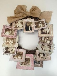 DIY Gift Idea - Use A Wicker Wreath And Attach Lots Of Mini Picture Frames To It And Add A Ribbon At The Top For Decoration And Hanging Purposes. Mini Picture Frames, Picture Frame Wreath, Photo Wreath, Door Picture, Wreath Crafts, Diy Wreath, Wreath Ideas, Burlap Wreath, Craft Gifts