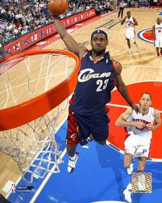 LeBron James dunking against the Detroit Pistons at The Palace of Auburn Hills.