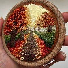 These autumn vibes from are dreamy 😍 . Creative Embroidery, Modern Embroidery, Hand Embroidery Patterns, Floral Embroidery, Cross Stitch Embroidery, Embroidery Designs, Sewing Crafts, Creations, Threading